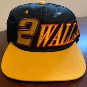 Vtg NASCAR Ford Rusty Wallace Spellout Snapback
